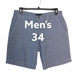 U.S Polo Assn 34 Shorts Chino Plaid Blue White EUC